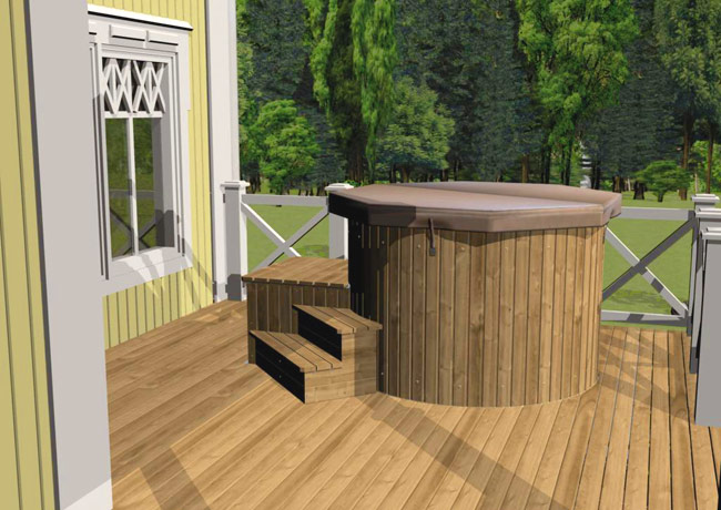 Luxwel Hot Tub on decking